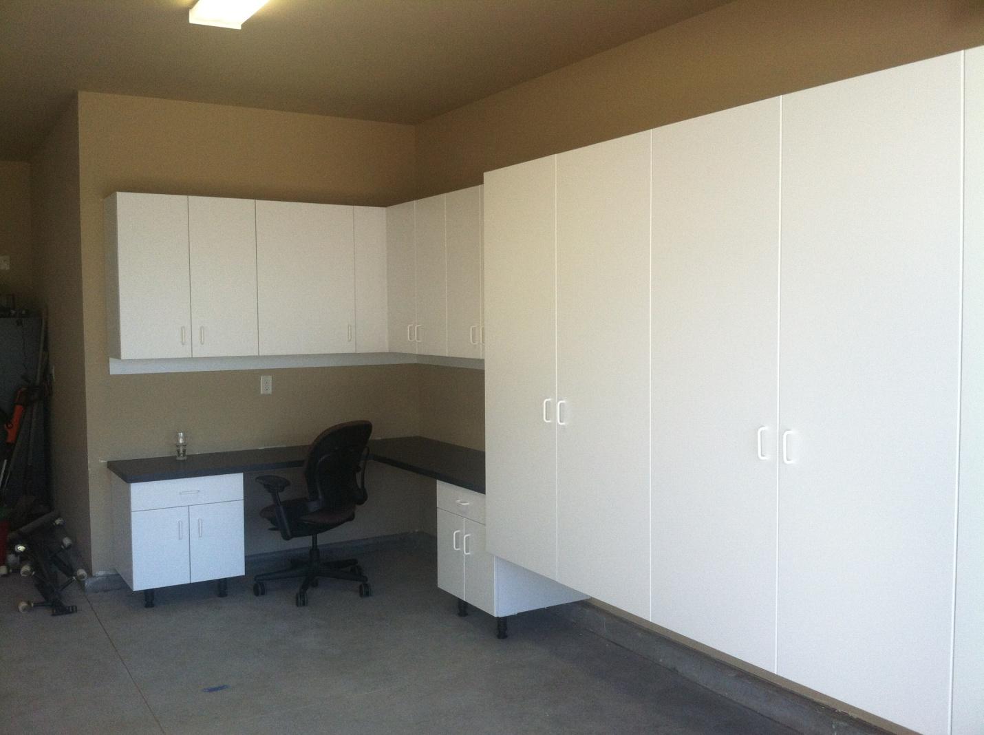 Car + desk + cabinets
